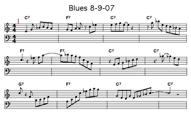 Blues 8-9-07: <P>A blues I composed so that I could demo Workscore's and SongTrellis Tunetext URLs for a video on the SongTrellisWorkshop channel on kyte.tv.</P>  <P>Perform the piece with swing via this <A href=&quot;http://tinyurl.com/2v964z&quot;>Tunetext URL</A>.</P>