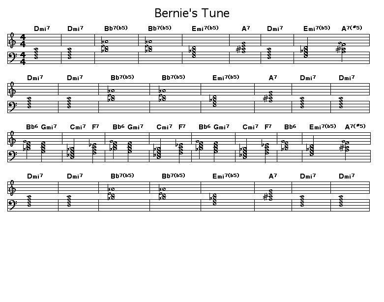 Bernie's Tune: Chord progression for Bernie Miller's &quot;Bernie's Tune&quot;.  <P></P>  <P>Right click on this&nbsp;score (ctrl-click on Macs) to download it.</P>