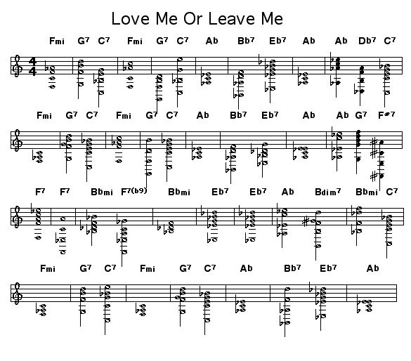 "Love Me Or Leave Me: Chord changes for ""Love Me Or Leave Me"" written by Walter Donaldson and lyrics by Gus Khan.     Written in 1928, this played during the opening credits of the 1955 biopic of singer Ruth Etting ""Love Me Or Leave Me"" and was sung by Doris Day during the film.     Basie's band did a notable version of this in the late-30's."