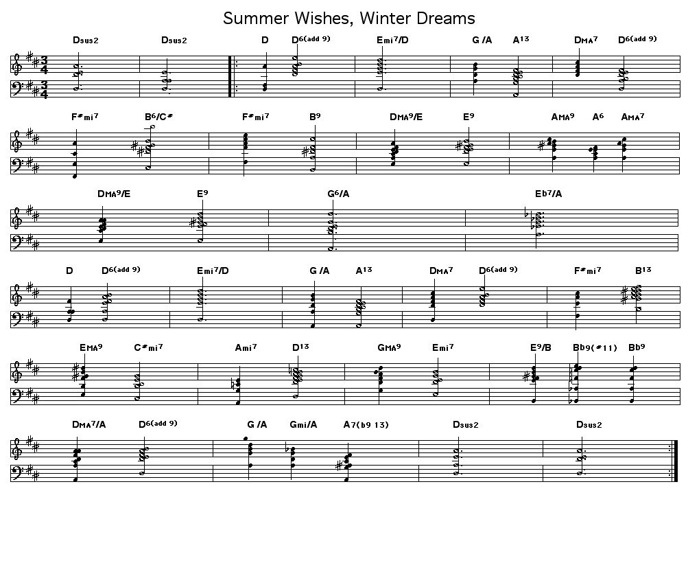 "Summer Wishes, Winter Dreams: Changes for Johnny Mandel's ""Summer Wishes, Winter Dreams"".     This has an unusual form. After a two measure intro, the song has an 11 measure A section and a 13 measure A section variant that adds up to 24 measures in total."